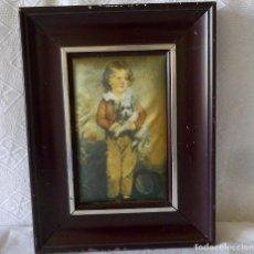 Vintage: CUADRO PINTADO SOBRE LAMINA DE SEDA-VINTAGE. Lote 154457554