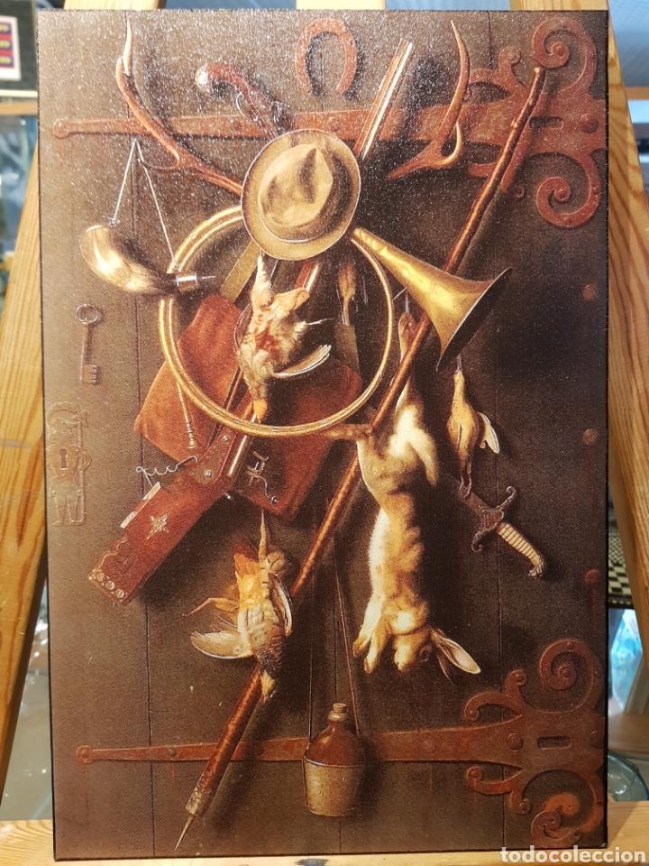 CUADRO EN MADERA DE CAZA. ESTILO ANTIGUO VINTAGE CON OBJETOS DE CACERIA (Vintage - Decoración - Varios)