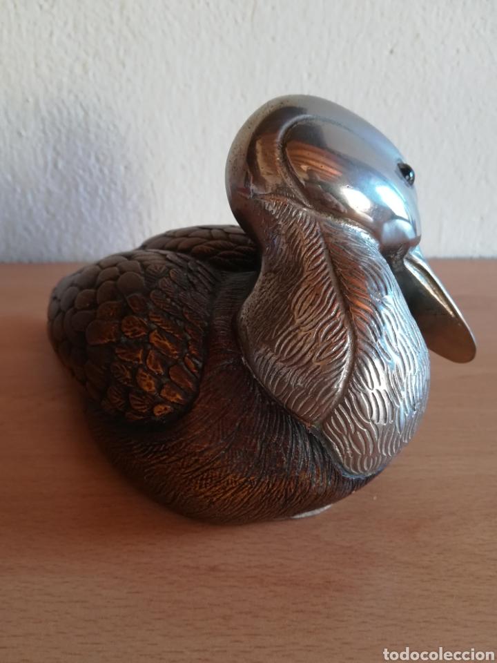 Vintage: Figura pato firma Malevolti - Italia - madera y bronce plateado - Caza Decoración vintage rústica - Foto 6 - 155373612