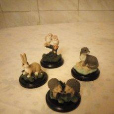 Vintage: LOTE DE 4 FIGURAS DE ANIMALES HECHOS EN RESINA BASE DE MADERA,COLECCIONISTA.. Lote 155437742