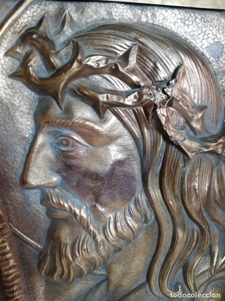 Vintage: Antiguo cuadro de Cristo, Jesucristo, o Jesús. metal, bronce o latón. - Foto 2 - 155482714