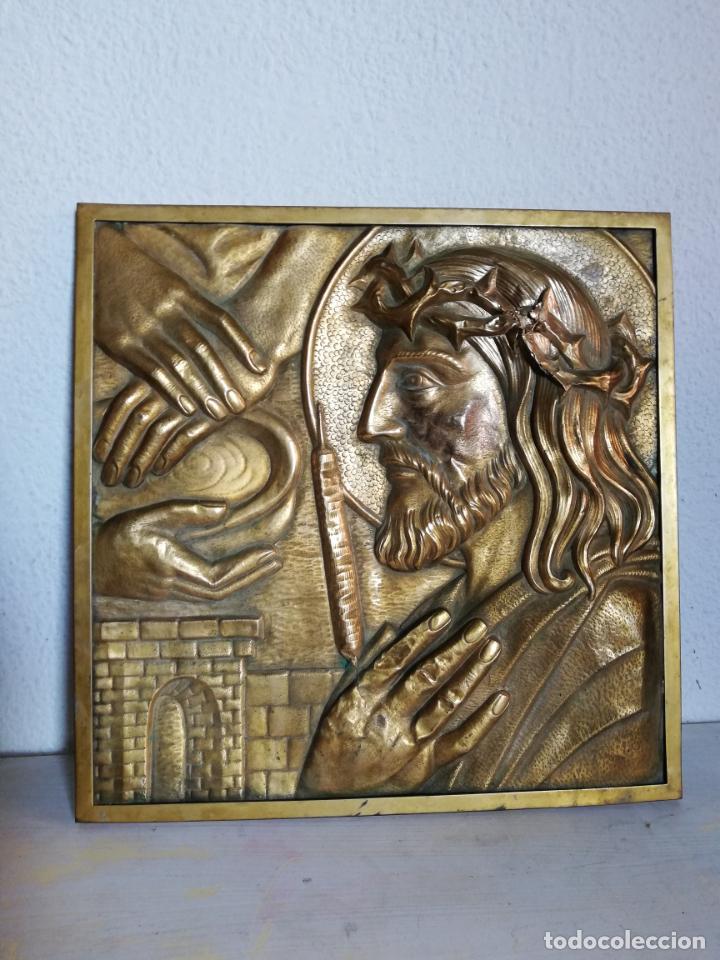 Vintage: Antiguo cuadro de Cristo, Jesucristo, o Jesús. metal, bronce o latón. - Foto 5 - 155482714