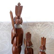 Vintage: 3 GUERREROS MASAI-TALLADOS EN MADERA. Lote 155655322