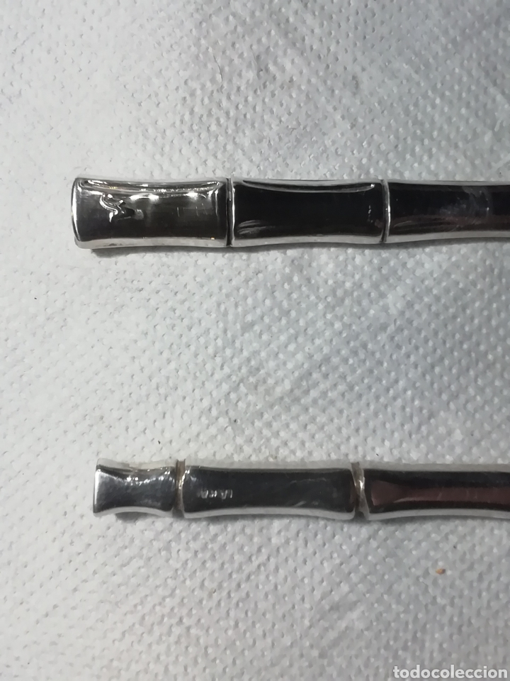 Vintage: Dos utensilios creo para pescado, no se si son de plata o baño tienen marcas que no se de que son - Foto 2 - 156509981
