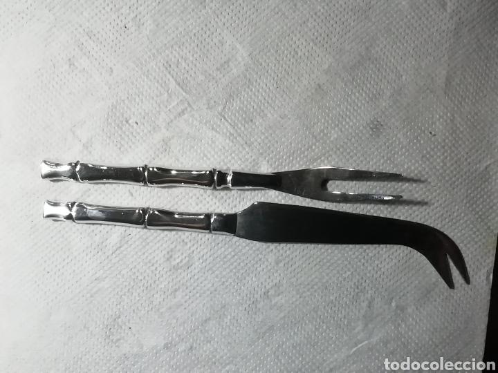 Vintage: Utensilios de pescado tiene marcas no sé si de plata o alpaca - Foto 3 - 156686906