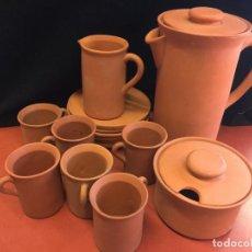 Vintage: EXCELENTE JUEGO DE CAFE 6 SERVICIOS, AÑOS 80, VINTAGE, EN TERRACOTA. SIN ESTRENAR. IMPECABLE. Lote 156986094