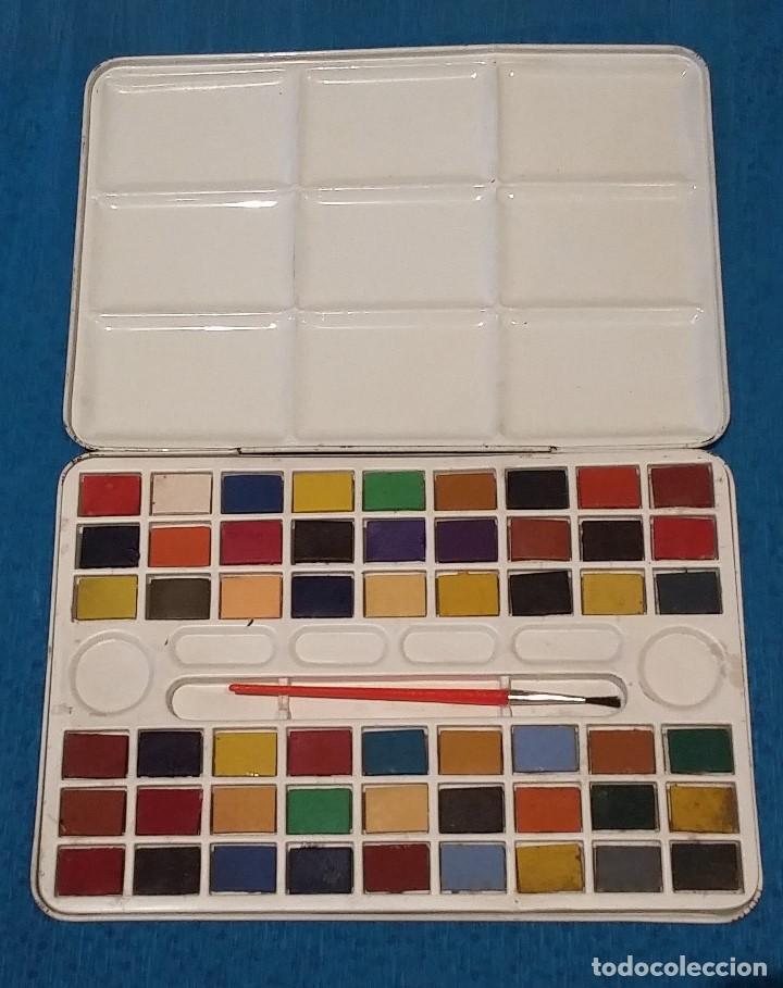 Vintage: Caja de acuarelas metalica decorada años 80. - Foto 2 - 158501830