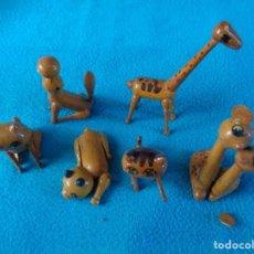 Vintage: 6 ANIMALES VARIOS DE MADERA - FOCA - 3 GATOS Y 2 JIRAFAS. Lote 158794610