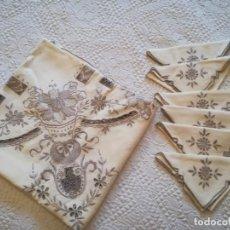 Vintage: MANTEL CUADRADO BORDADO Y CALADOS. 6 SERVILLETAS.. Lote 159008102