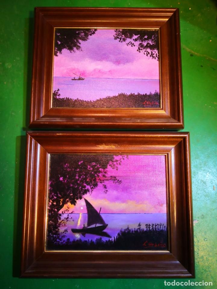 Vintage: Pinturas óleo enmarcadas escenas barcas Albufera -Valencia- envío 9.99 - Foto 2 - 159303146