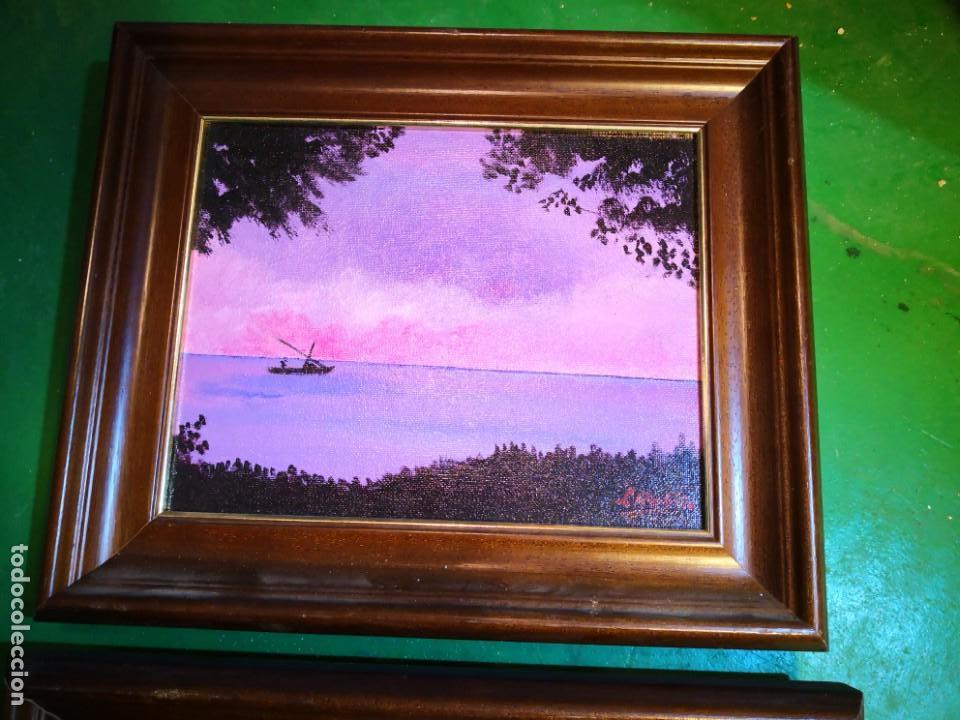 Vintage: Pinturas óleo enmarcadas escenas barcas Albufera -Valencia- envío 9.99 - Foto 3 - 159303146