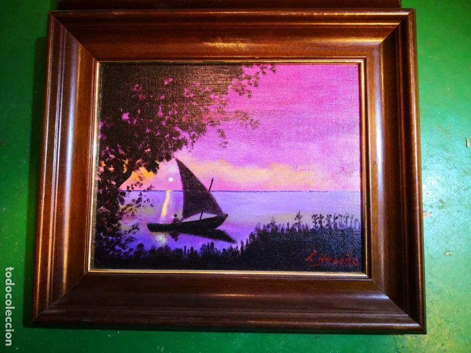 Vintage: Pinturas óleo enmarcadas escenas barcas Albufera -Valencia- envío 9.99 - Foto 4 - 159303146