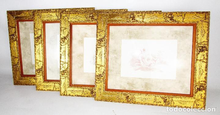 PRECIOSO LOTE DE MARCOS DE MADERA DORADOS IDEAL PINTURAS OLEOS VINTAGE CON AGELOTES Y LAMINAS (Vintage - Decoración - Varios)