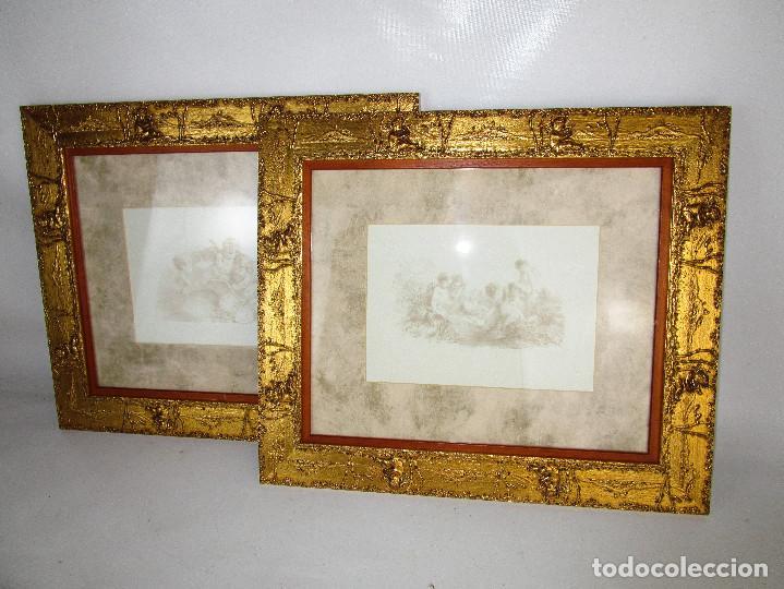 Vintage: PRECIOSO LOTE DE MARCOS DE MADERA DORADOS IDEAL PINTURAS OLEOS VINTAGE CON AGELOTES Y LAMINAS - Foto 2 - 160167390