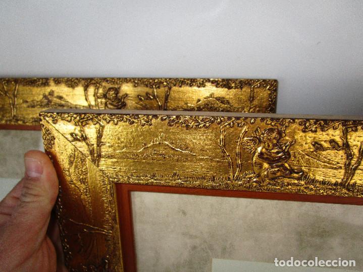 Vintage: PRECIOSO LOTE DE MARCOS DE MADERA DORADOS IDEAL PINTURAS OLEOS VINTAGE CON AGELOTES Y LAMINAS - Foto 3 - 160167390