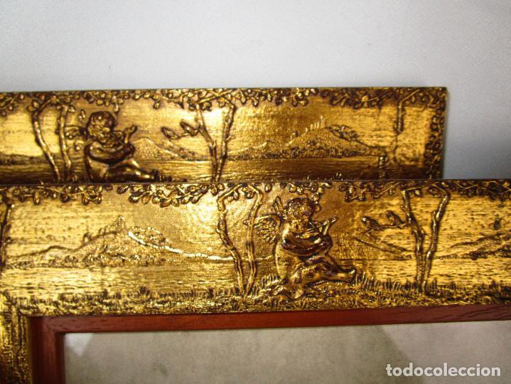 Vintage: PRECIOSO LOTE DE MARCOS DE MADERA DORADOS IDEAL PINTURAS OLEOS VINTAGE CON AGELOTES Y LAMINAS - Foto 4 - 160167390