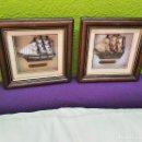 Vintage: PAREJA DE CUADROS CON BARCOS TIPO MAQUETA ENMARCADOS Y CON CRISTAL - 19.5X19.5.CM. Lote 160306386