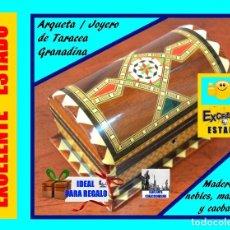 Vintage: TARACEA GRANADINA - ESPECTACULAR ARQUETA / COFRE / JOYERO / CAJA - EN MADERAS NOBLES, MARFIL Y CAOBA. Lote 160466090