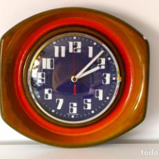 Vintage: RELOJ DE PARED VINTAGE CERÁMICA FAT LAVA AÑOS 60 70 ALEMANIA KIENZLE. Lote 160586738