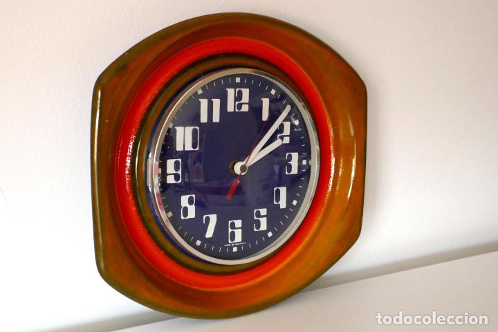 Vintage: Reloj de pared vintage cerámica fat lava años 60 70 Alemania Kienzle - Foto 2 - 160586738