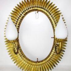 Vintage: ESPECTACULAR ESPEJO SOL LAMPARA FORJA DORADA ANTIGUO VINTAGE - I LOVE RETRO- HOJAS. Lote 34670256