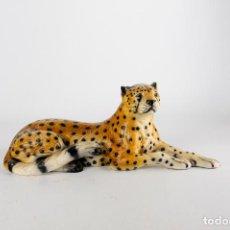 Vintage: GRAN FIGURA DE CERAMICA PORCELANA LEOPARDO GUEPARDO MACIZO VINTAGE RETRO ANIMAL PRINT 70S. Lote 162208490