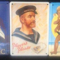 Vintage: PLACAS DE CARTELES, A ELEGIR TITANIC, PLAYERS, COPPERTONE, EN ACERO, DE 11 X 8 CM. TIN CARDS.. Lote 163364702