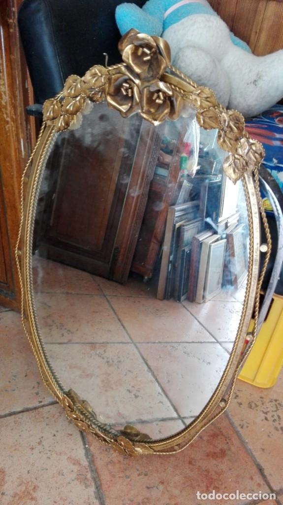 Vintage: espejo de broce laton con rosas iluminado por detras 79 cm x 44 cm - Foto 2 - 163456222