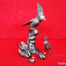 Vintage: LOTE COMPUESTO POR 5 FIGURAS DE DIVERSOS ANIMALES EN METAL PLATEADO .. Lote 165051698