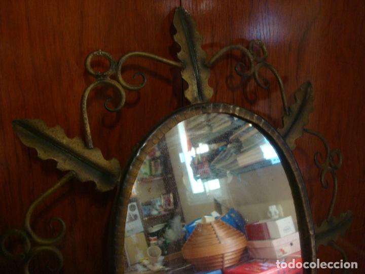 Vintage: espejo tipo sol hojas de hierro - Foto 2 - 165379614