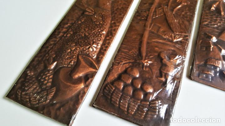 Vintage: 4 TABLILLAS MADERA GRANULADO Y LATON GRABADO REPUJADO ORIGEN BRASIL 2X 18.5.X8.5.CM Y 2X 37.X8.5.CM - Foto 2 - 172480902