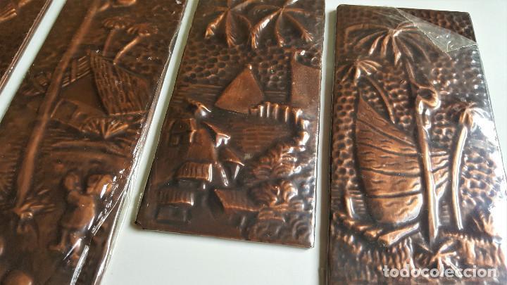 Vintage: 4 TABLILLAS MADERA GRANULADO Y LATON GRABADO REPUJADO ORIGEN BRASIL 2X 18.5.X8.5.CM Y 2X 37.X8.5.CM - Foto 5 - 172480902