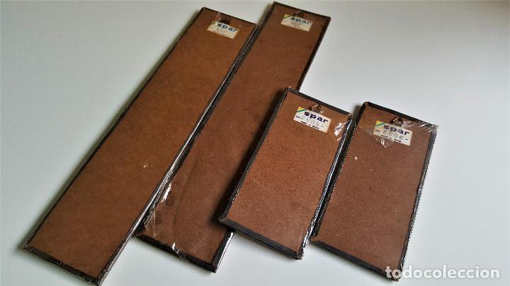 Vintage: 4 TABLILLAS MADERA GRANULADO Y LATON GRABADO REPUJADO ORIGEN BRASIL 2X 18.5.X8.5.CM Y 2X 37.X8.5.CM - Foto 6 - 172480902