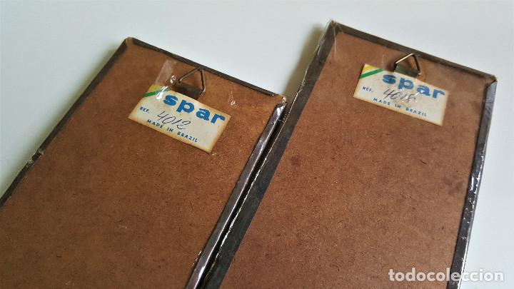 Vintage: 4 TABLILLAS MADERA GRANULADO Y LATON GRABADO REPUJADO ORIGEN BRASIL 2X 18.5.X8.5.CM Y 2X 37.X8.5.CM - Foto 8 - 172480902