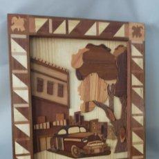 Vintage: IMPRESIONANTE CUADRO HECHO EN TARACEA ,CON IMAGEN DE CALLE CUBANA. Lote 166024850