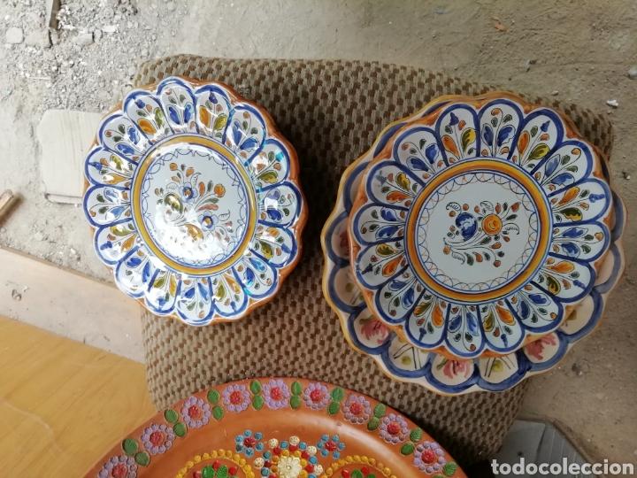 Vintage: Juego platos cerámica. Lote de 3 platos. Talavera - Foto 2 - 168207845