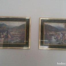 Vintage: DOS CUADROS CON LABORES DOMÉSTICAS DE MUJERES EN EL CAMPO:LAVANDO ROPA EN EL RÍO Y LLENANDO CÁNTAROS. Lote 168457640