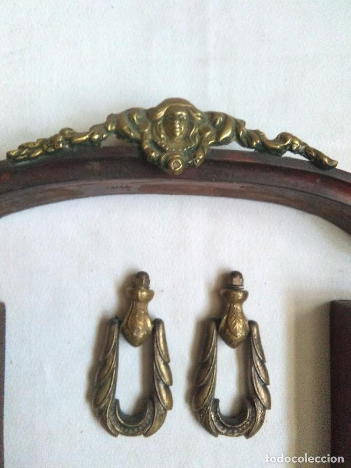 Vintage: antiguo lote modernista de molduras portalamparas interruptor y tiradores de laton o bronce - Foto 2 - 169787844