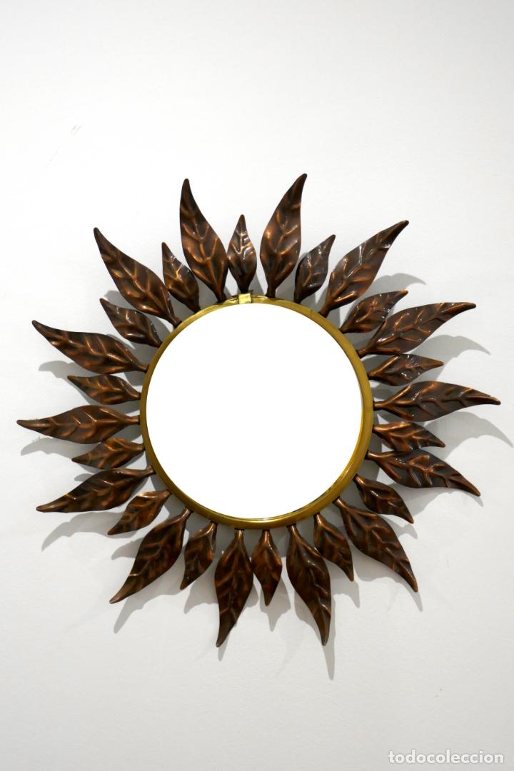 Vintage: Espejo vintage sol años 60 70 metal bitono dorado y cobre hojas antiguo - Foto 2 - 169797496