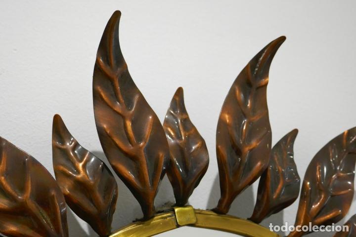 Vintage: Espejo vintage sol años 60 70 metal bitono dorado y cobre hojas antiguo - Foto 3 - 169797496