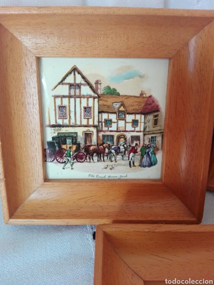 Vintage: TRES PRECIOSOS MARCOS MADERA CLARA PEQUEÑO TAMAÑO AZULEJOS INGLESES Bristol, House-York Woolhampton - Foto 2 - 170176256