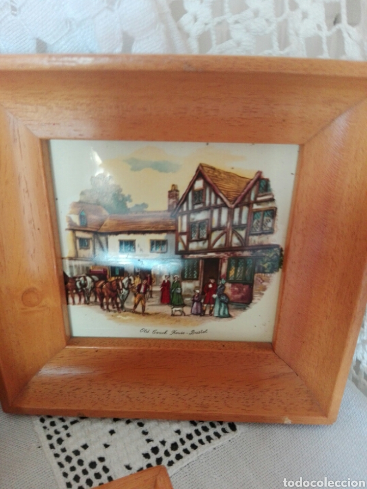 Vintage: TRES PRECIOSOS MARCOS MADERA CLARA PEQUEÑO TAMAÑO AZULEJOS INGLESES Bristol, House-York Woolhampton - Foto 3 - 170176256