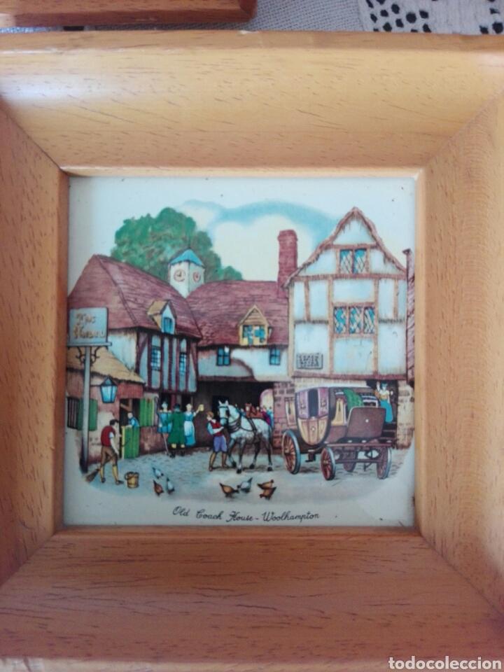 Vintage: TRES PRECIOSOS MARCOS MADERA CLARA PEQUEÑO TAMAÑO AZULEJOS INGLESES Bristol, House-York Woolhampton - Foto 4 - 170176256