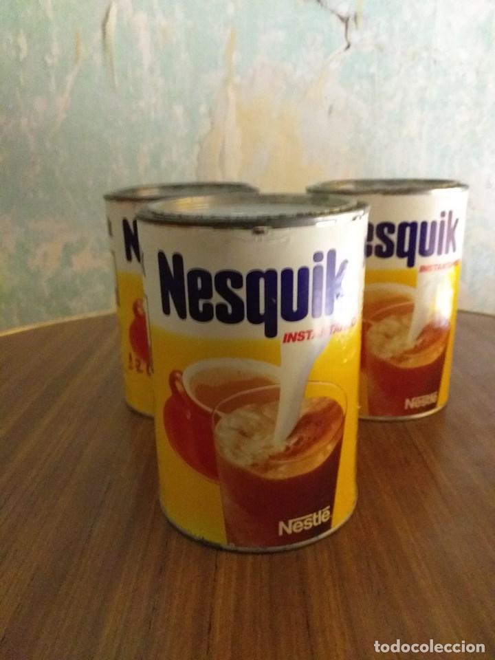 CONJUNTO VINTAGE DE 3 BOTES DE NESQUIK (Vintage - Decoración - Varios)