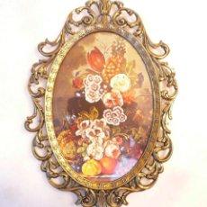 Vintage: CUADRITO ITALIANO METAL DORADO. Lote 171150127