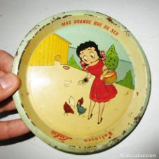 Vintage: UNICO EN EUROPA! AÑOS 5O BETTY BOO PLATO BANDEJA CHAPA REFRESCOS LULÚ MEJICO. Lote 171247067