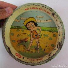 Vintage: UNICO EN EUROPA! AÑOS 5O BETTY BOO PLATO BANDEJA CHAPA REFRESCOS LULÚ MEJICO. Lote 171361549