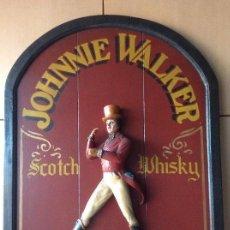 Vintage: ANTIGUO CARTEL PUBLICITARIO JOHNNIE WALKER EN MADERA PINTADO A MANO BORN 1820 STILL GOING STRONG. Lote 171708544
