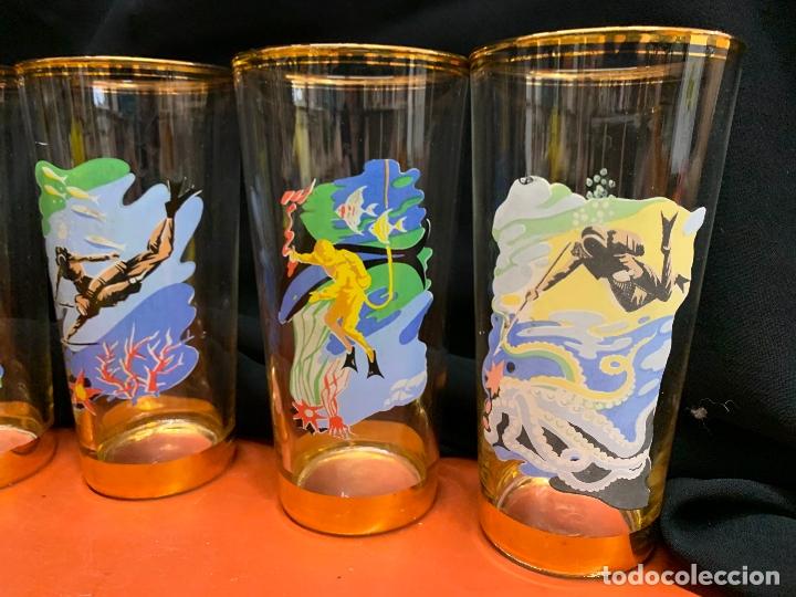 Vintage: Espectacular juego de 6 vasos de tubo Vintage con imagenes de submarinismo y juego de mesa o poker - Foto 2 - 171756632