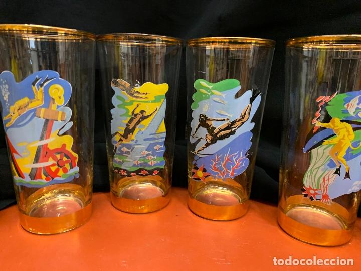 Vintage: Espectacular juego de 6 vasos de tubo Vintage con imagenes de submarinismo y juego de mesa o poker - Foto 3 - 171756632